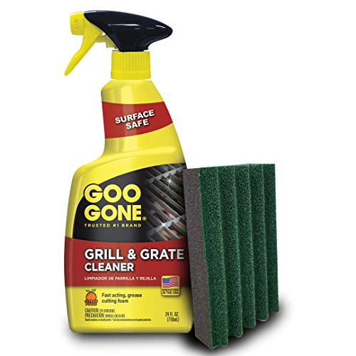 Goo Gone Grill Cleaner and Pad - Cleans BBQ Grates & Racks - 24 Ounce