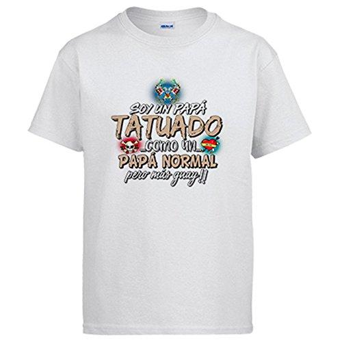 Camiseta Soy un papá Tatuado como un papá Normal Pero más Guay - Blanco, XL