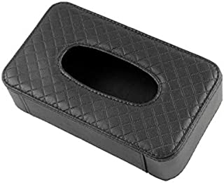 Car Tissue Holder PU Leather Clip Car Sun Visor Tissue Box Holder for Facial Tissue and Other Napkin Papers -Black