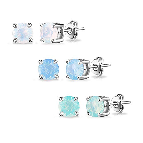 Pack of Three Opal Earrings Created with Austrian Crystals