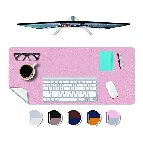 """Desk Mat Plastic Office Home Table Pad Protector Blotter Mat Writing Desk Topper Protector with Mouse Pad for Laptop Computer Desktop Keyboard Pads Multifunctional Mat Wipeable PVC 17x48""""(Pink+Sliver)"""