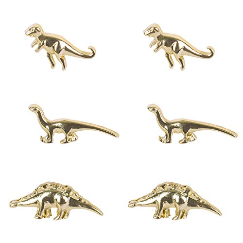 Gold and Silver Dinosaurs Earrings Alloy 3 Pairs of Studs Punk Cartilage Earrings Cute Animal Jewelry