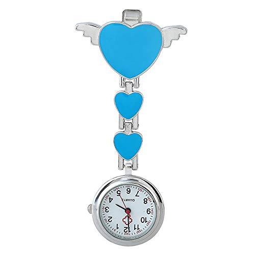 Warmiehomy FOB-Uhr Krankenschwesteruhr Broschen Uhr mit Clip Herz Flügel Ansteckuhr digital Quarz Taschenuhr für Krankenschwester Damen Ärzte (blau)