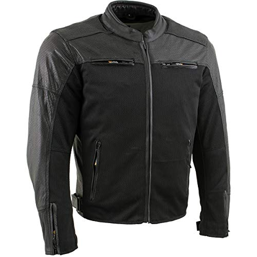 Xelement XS11001 'Chaos' Men's Black Leather and Mesh Perorated Armored Scooter Jacket - Large