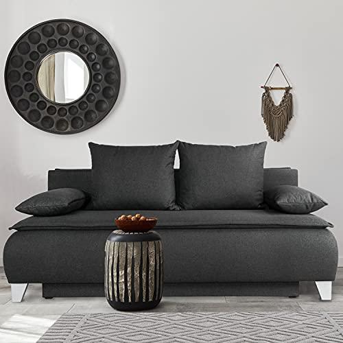 Boxspring Sofa mit Schlaffunktion - Boxspringsofa - Graphit - ca. 206 x 110 x 113 cm - Sofa Couch -...