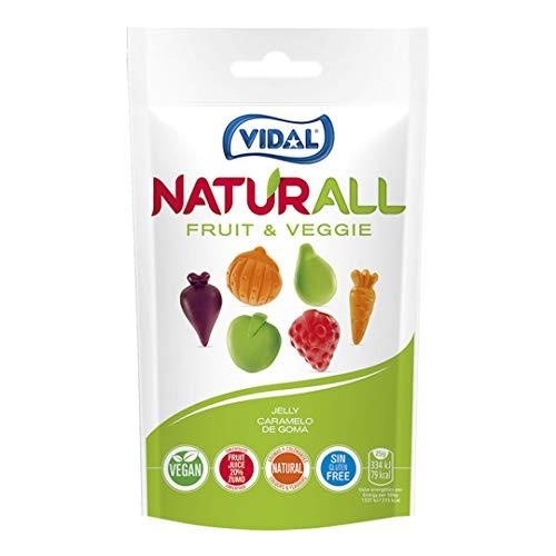 Vidal Golosinas Naturall Fruit & Veggie. Caramelo de goma vegano sin colorantes y aromas naturales. Sabores de frutas y verduras. Doypack 180 gr.