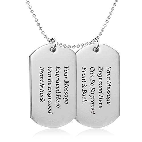 howson london Personalised Engraved Pendant Necklace - Double Dog Tags/Army Card Style/Identity Gift for him - Birthday, Anniversary, End of Term Thank You Teacher