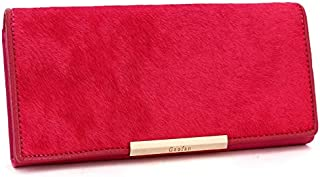 Leather Women's Wallet Long Horsehair Leather Women's Wallet Clutch Wallet Women's Trendy Clutch Waterproof (Color : Red, Size : S)