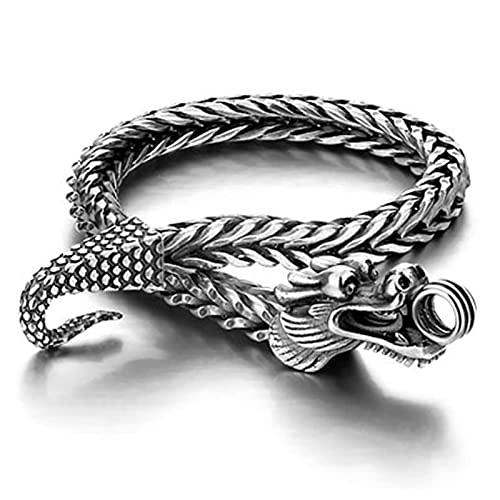 XKUN China Pulsera Larga, Cadena de dragón de la Moda de la Moda de los Hombres Retro, Pulsera de Vikingo nórdico-18cm