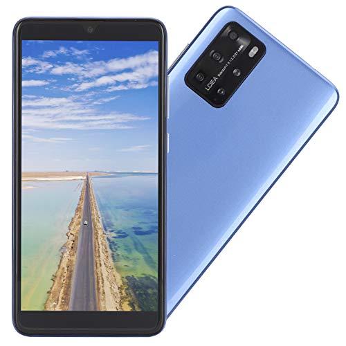 CUYT Teléfono Inteligente Desbloqueado P48 Pro, 5.8in 512MB+4GB Pantalla de Gota de Agua Tarjeta Dual MP3/WIFI/3GP/FM/Bluetooth Teléfono Celular Android Huella Digital Identificación Facial(Azul)