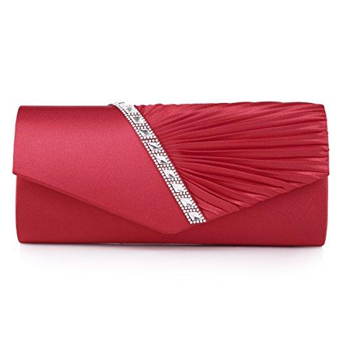 Damara Elegant Strassstein Damen Abendtasche Handtasche,Rot