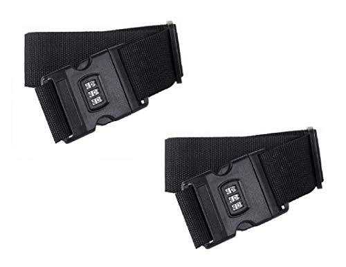 Set di 2 cinghie per valigia, 200 cm, 2 pezzi, 2 m, con lucchetto a combinazione, cinghia per bagagliaio, cinghia regolabile, cinghia per valigia (2 x nero)