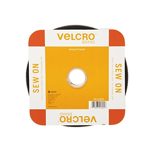 VELCRO Brand For Fabrics | Sew On Fabric Tape for Alterations and Hemming | No Ironing or Gluing | Ideal Substitute for Snaps and Buttons | Tape, 30ft x 3/4in, Black