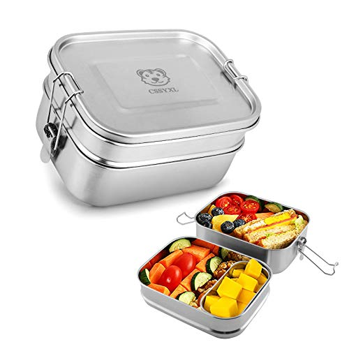 Bento Lunch Box 47oz1400ml Layered 304 Stainless Steel Lunch Container for Kids Boys 2 Tier Large Salad Food Storage Containers for men with Secure Locks Adults Rectangle Metal Tiffin Lunchbox