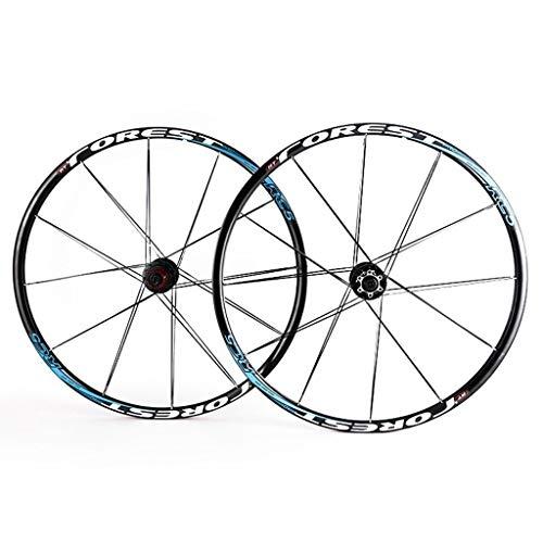 QHY Ruote Cerchio MTB Set di Ruote per Mountain Bike da 26/27,5 Pollici, Doppio Muro 24H Freno A Disco Rilascio Rapido 7 8 9 10 11 velocità (Color : Blue, Size : 26inch)