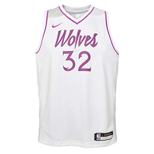Nike Minnesota Timberwolves Karl-Anthony Towns #32 NBA Big Boys Youth (8-20) City Edition Swingman Jersey, White Medium 10-12