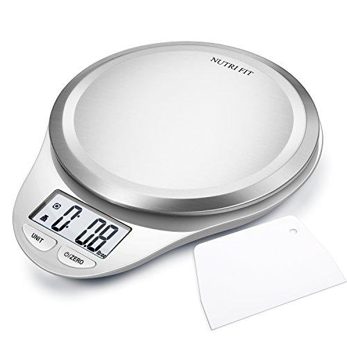 CAMRY Bilancia da cucina Digitale, Bilancia Elettronica ad Alta Precisione con Display LCD, Funzione di Tara, Acciaio Inossidabile, 5kg/11lb (Bianco)