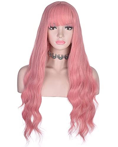 AMZCOS Long Wavy Pink Wig with Bangs for Women Heat Resistant Synthetic Hair Wigs for Daily, Cosplay Events (Pink)