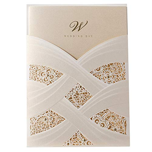 Wishmade Ivory Laser Cut Wedding Invitations Cards kits With Lace Sleeve Flower Pocket Design Cardstock 50 Pieces for Bridal Shower (pack of 50pcs)