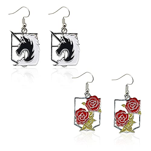 2 Paar Klassische Ohrringe,Attacking Giant,Wings of Freedom Earrings, Anime Acryl Drop Ohrringe,Ohrringe Ohrstecker Anime Cosplay Zubehör Requisite,Statement Ohrringe for Anime Lovers