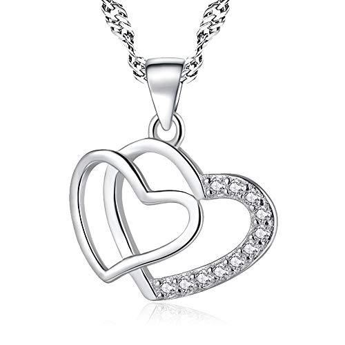 Halskette Damen Herz,925 Sterling Silber Anhänger,Swarovski Kristall Zirkonia,Schmuck Damen,Geschenk für Frauen Weihnachten