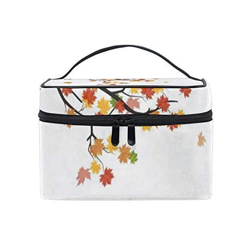 Branche de sac de maquillage avec des feuilles tombantes Sac à cosmétiques Grand sac de toilette portable pour les femmes/filles