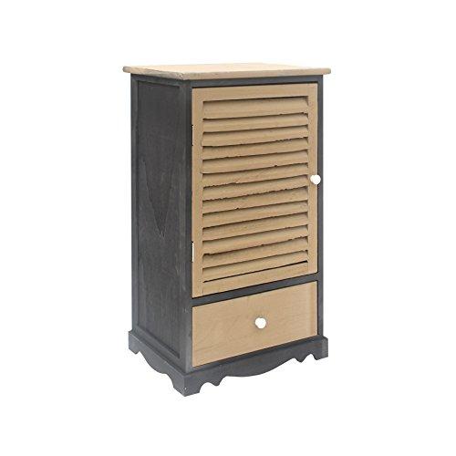 Rebecca meubelstuk commode 1 deur 1 lade hout zwart grijs woonkamer retro meubelhuis - 73 x 42 x 32 (H x B x D) - art.nr. RE6070