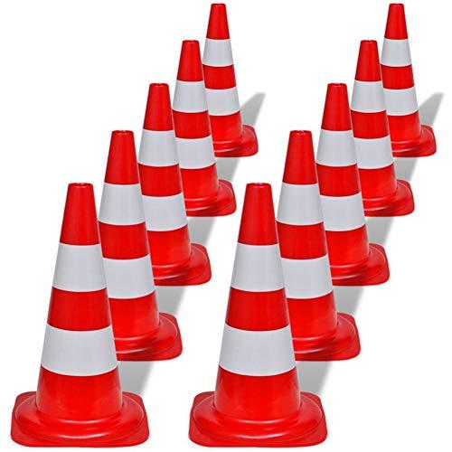 10 x Verkehrsleitkegel, Warnkegel, Verkehrshütchen, Sicherheit Kegel, Markierungshütchen, Stapelbar, Rot und Weiß Reflektierend, 50 cm