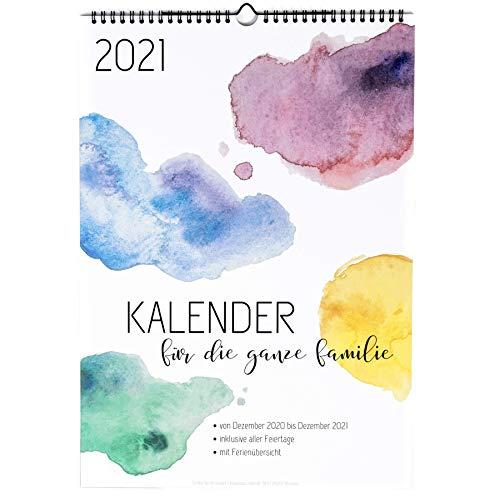 XXL Familienkalender 2021 (Wandkalender A3 mit 6 Spalten) - Familienplaner mit fünf Spalten - Familien Kalender zum Aufhängen an der Wand (Jahreskalender 2021) - aquarell
