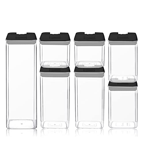 7 Pack Cereal and Dry Food Storage Containers, Plastic Grain Container with Easy-Locking Lid 24 Labels Included Storage, Airtight Rice Grain Storage Tanks Box Organizer for Home Kitchen (A)
