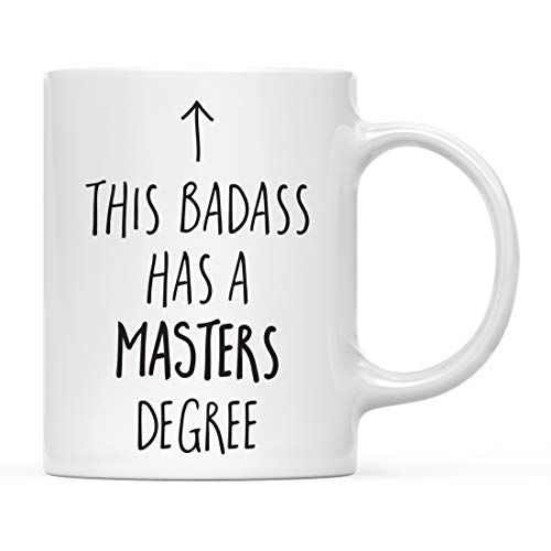 Andaz Press 11oz. Graduation Coffee Mug Gift, This Badass Has a Masters Degree, Arrow Graphic, 1-Pack, Includes Gift Box, Cups for Graduates School Students of Class of 2021, Grad Diploma