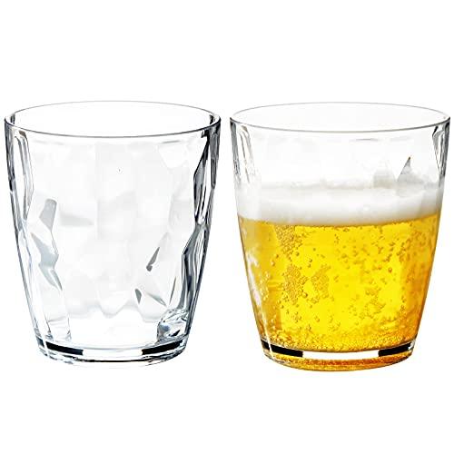 MICHLEY 400 ML Tritan-Plástico Grande Vasos de Agua y de Whisky, Irrompible Copas de Agua Cerveza Cristalería para Fiesta, Apto para Lavavajillas, Juego de 2 piezas