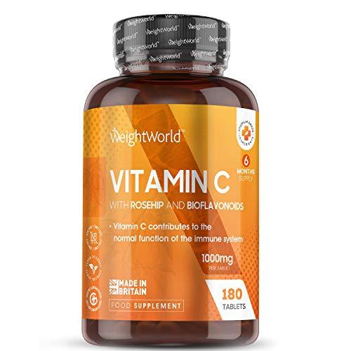 Vitamine C 1000 mg Extra Fort – 180 Comprimés (6 mois) Vegan WeightWorld | Vitamin C Acide Ascorbique + Rose Musquée + Bioflavonoïdes – Ingrédients Testés en Labo