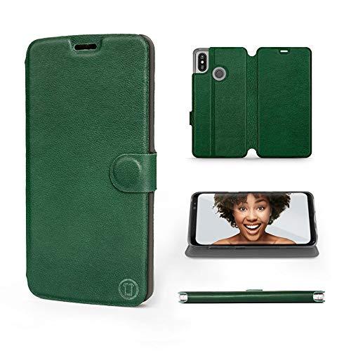 Mobiwear | Echt Lederhülle | Kompatibel mit Xiaomi Mi Max 3, Made in EU handyhülle, Slim Leather Hülle, Premium Flip Schutzhülle, Transparent TPU Silicon, Book Style, Tasche - Grünes Leder