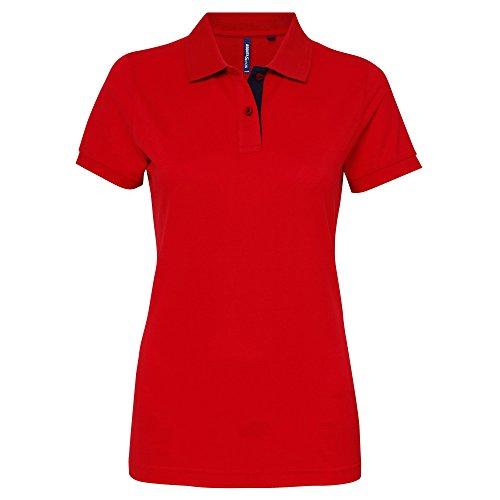 Asquith & Fox Damen Women's Contrast Polo Poloshirt, Mehrfarbig (Red/Navy 000), 42 (Herstellergröße: X-Large)