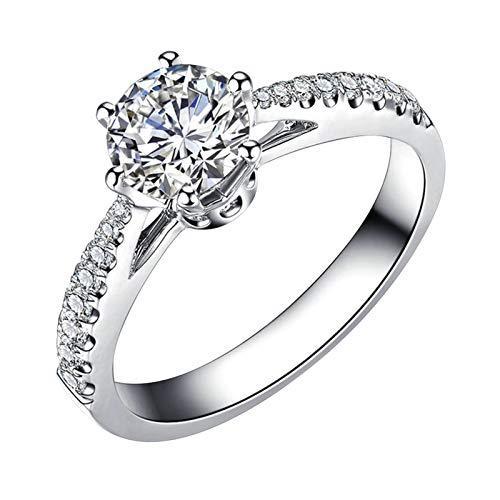 Ubestlove Damen Ring Weißsgold 6 Kralle Damen Ringe Unendlichkeit 0.23Ct Diamant Ringe Größe 63