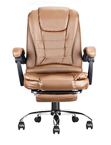 Bürostuhl aus Kunstleder mit Fußstützen, Ergonomisch Einstellbarer Chefsessel, Schreibtischstuhl, Computerstuhl, Drehstuhl (Bernstein)