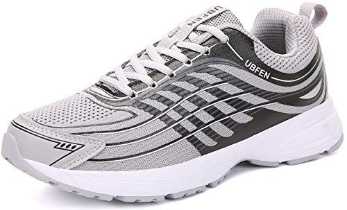 UBFEN Laufschuhe Herren Damen Turnschuhe Fitness Schuhe,44 EU,Grau