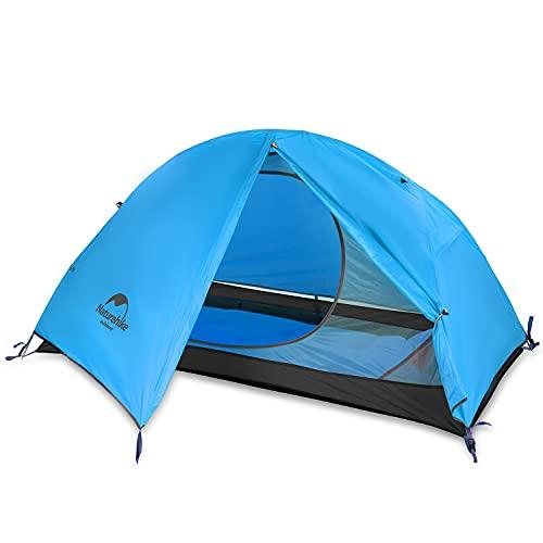 Naturehike Backpacking Zelt Leichtes 1 Personen wasserdichtes Anti-UV-Doppelschicht Tragbar für Outdoor-Wanderungen Radfahren Camping, 4 Jahreszeiten, einfache Einrichtung