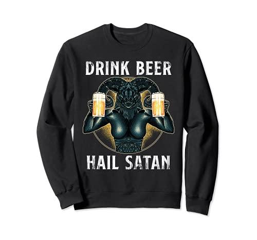 Bebe Cerveza Salve Satanás Gótico Baphomet Sudadera