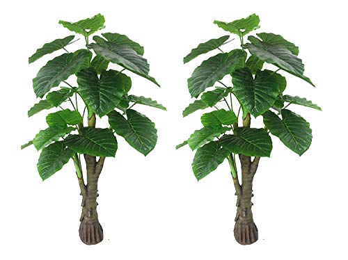 AMERIQUE Pair Gorgeous & Unique 6 Feet Royal Hawaiian Elephant Ear Artificial Trees with Giant Leaves, UV Protection, Feel Real Tech, Standable, 6', Green, 2