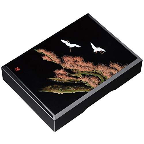 中西工芸 木製 かぶせ文庫 黒 飛祥 33cm (A4対応、書類入れ)