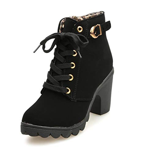 VJGOAL Damen Stiefel, Damen Mode High Heel Lace Up Stiefeletten Damen Schnalle Winter Warm Platform Wedges Schuhe (Schwarz, 38 EU)