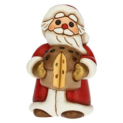 THUN - Soprammobile Babbo Natale con Panettone - Decorazioni Natale Casa - Formato Medio - Ceramica - 4,8 x 5 x 7,5 h cm