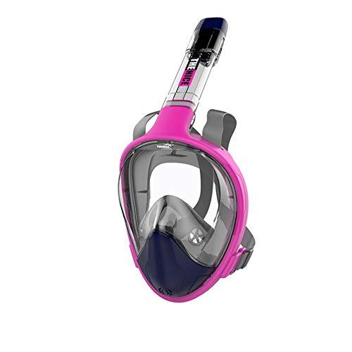 ZBYD Máscara de Buceo de Cara Completa Plegable para jóvenes Adultos antie Nieces Gafas de Ancho bajo el Agua Vista de la máscara de natación de Snorkel 412 (Color : Rose Red, Size : Large/X-Large)