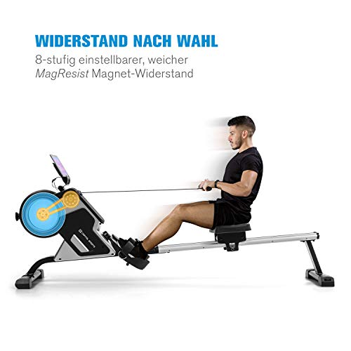 Capital Sports Stream M1 Magnetrudermaschine Rudergerät Rowing Machine, hocheffizientes Training, 8-stufiger Magnetwiderstand, 105 cm Lange Aluminium-Gleitbahn, schwarz - 2