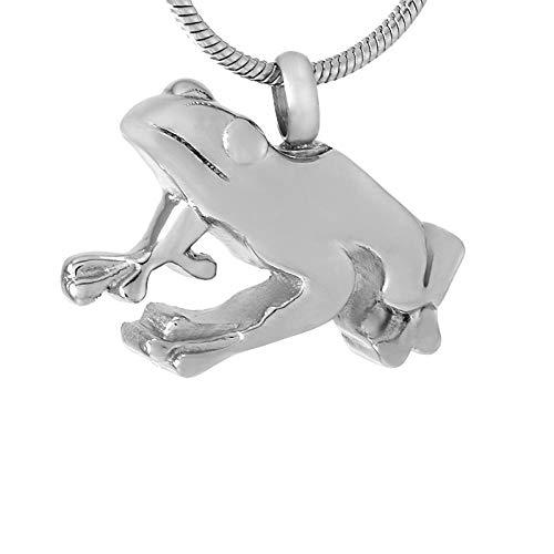 colgante conmemorativo, Collar joyería de cremación Cadena Libre Cenizas Memorial Collares Forma de rana Joyería de cremación para mascotas Diseño único Hombres Mujeres Collar Cenizas Titular