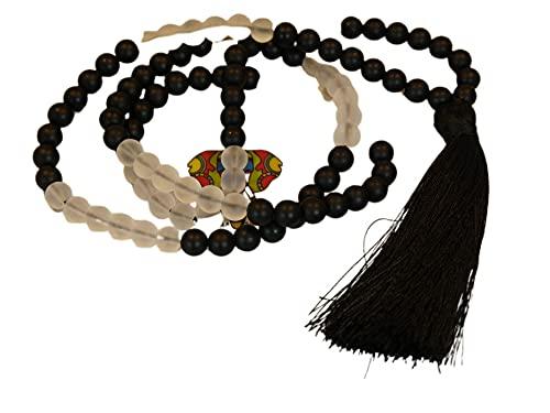 Mala Tibetano para meditación 108 cuentas de 8mm Cristal Blanco y Negro Mate