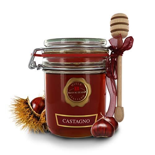 Brezzo Miel italien de châtaignier, ligne Antologie des Miel, pot hermétique avec dosamiel, 400 g