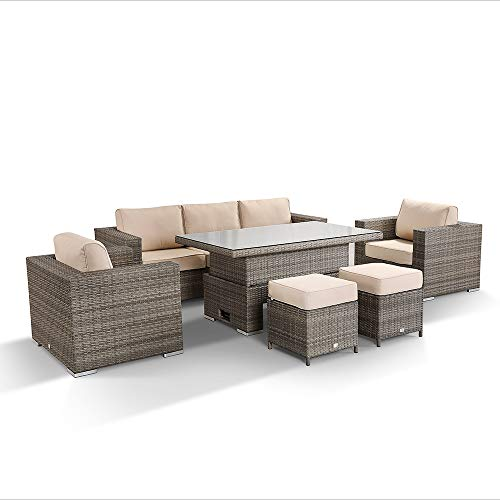 Rattan park Cambridge Three Seater Sofa Set with Rising Table and 2 Stools